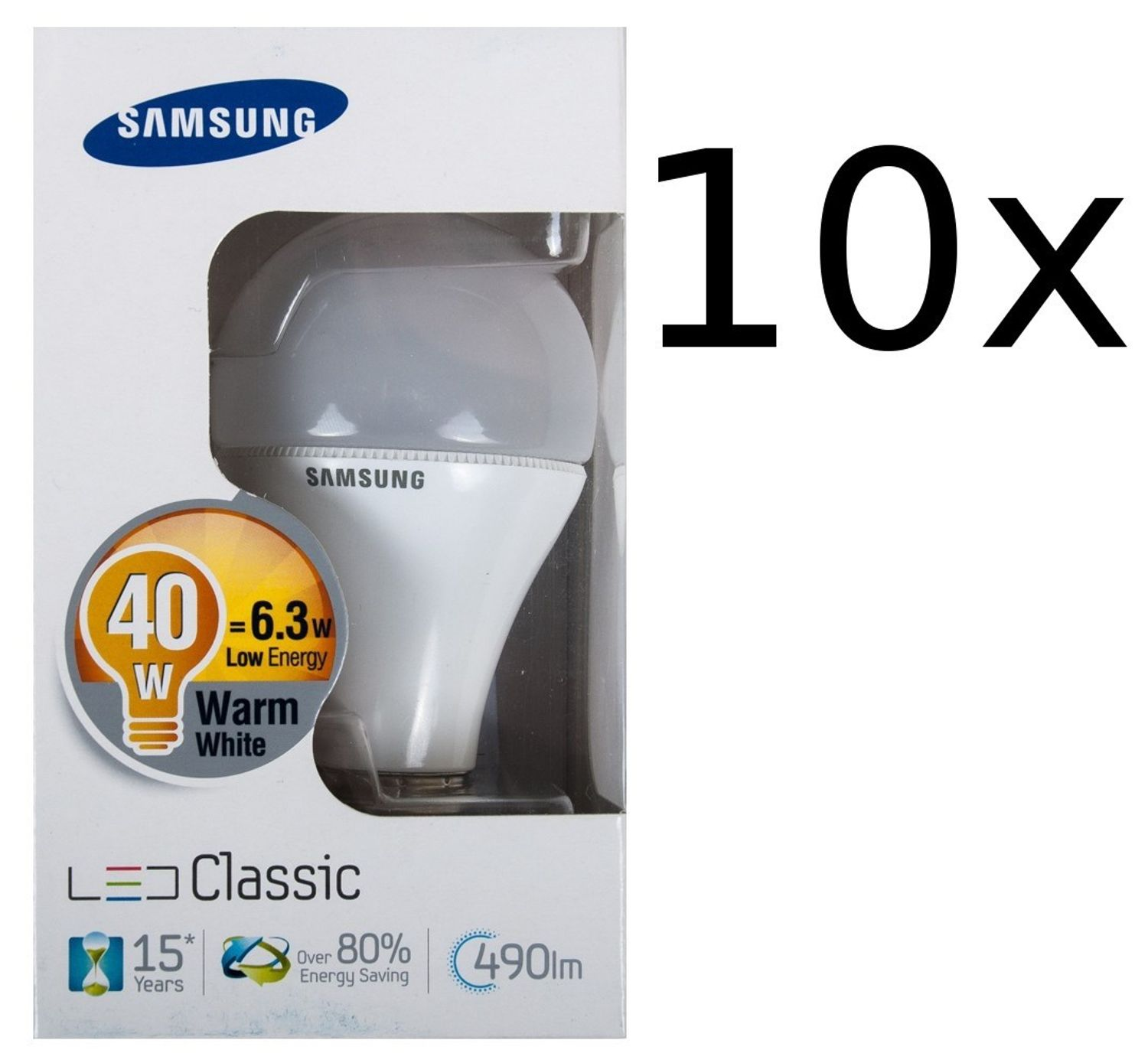 10x Samsung Led 490lm Energiesparlampe E27 Leuchtmittel 6,3W ...