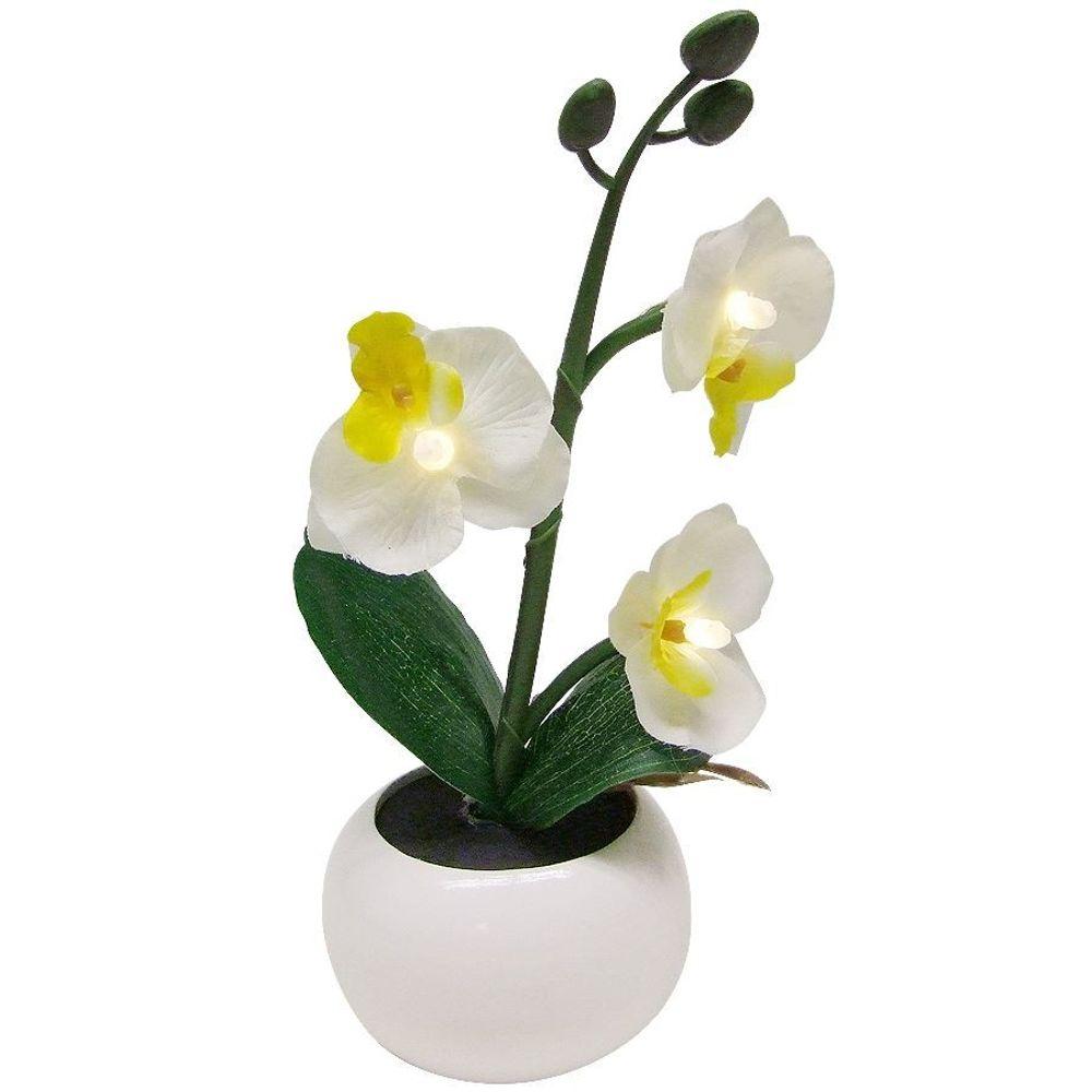LED Beleuchtung Künstliche Orchidee im Blumentopf Kunstpflanzen Frühlingsdeko  – Bild 1