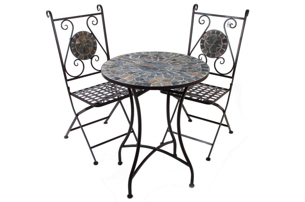 3er-Set Sitzgruppe Mosaikstühle + Mosaiktisch RIMINI