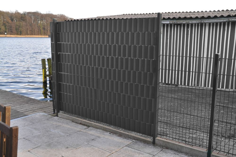 28m² PVC Sichtschutzzaun grau Windschutz Zaunblende Lärmschutz Doppelstabmatten – Bild 2