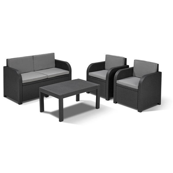 allibert lounge sitzgruppe mississippi graphit rattan. Black Bedroom Furniture Sets. Home Design Ideas