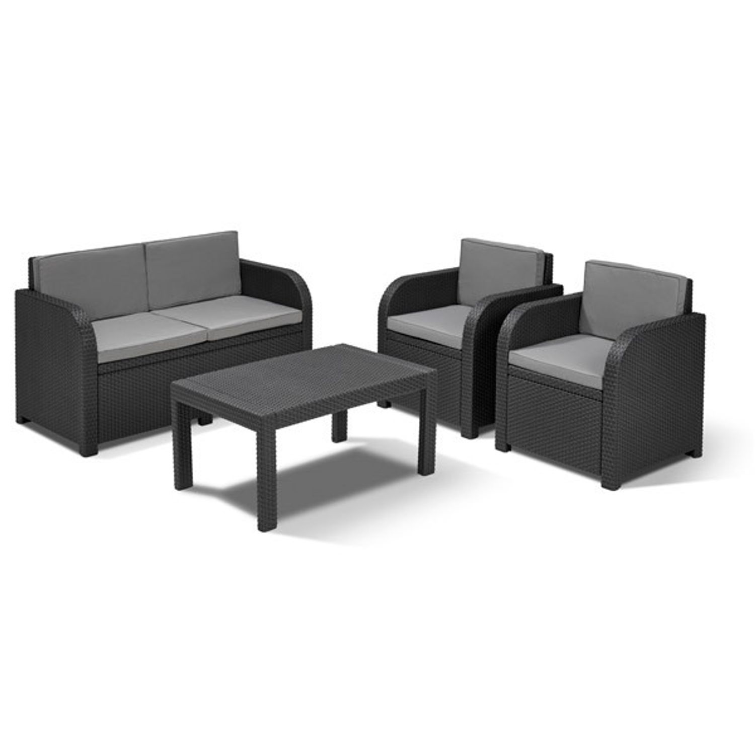 allibert lounge sitzgruppe mississippi graphit rattan gartenm bel balkonm bel garten m bel. Black Bedroom Furniture Sets. Home Design Ideas