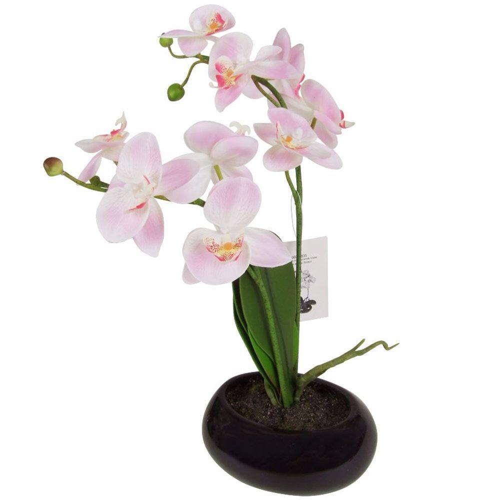 Künstliche Orchidee 35cm im Keramiktopf Kunstpflanze Zimmerpflanze Dekopflanze  – Bild 1
