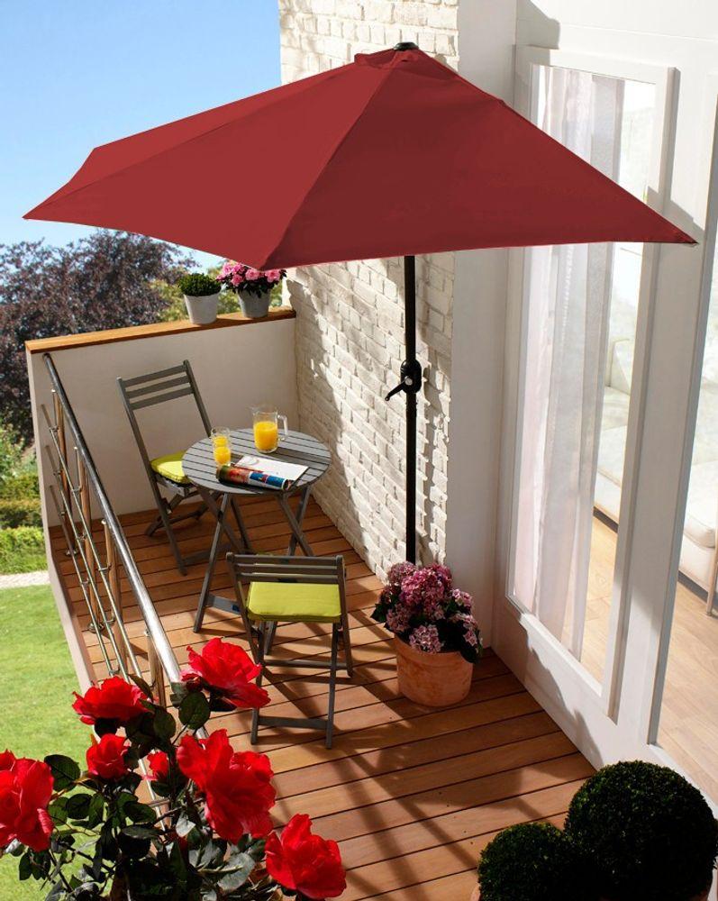Wand-Sonnenschirm Sonnenschutz Terrassenschirm Balkonschirm Wandschirm Halbrund – Bild 3