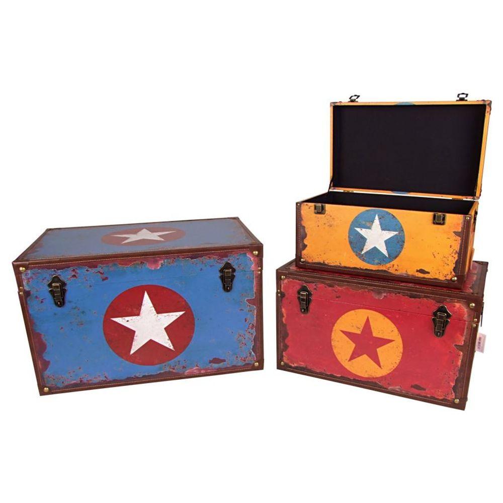 Holztruhe Sterndesign Vintage Holzkiste Holztruhe Truhe Kiste Aufbewahrungsbox – Bild 2