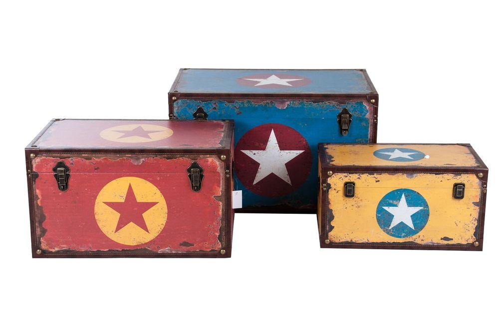 Holztruhe Sterndesign Vintage Holzkiste Holztruhe Truhe Kiste Aufbewahrungsbox – Bild 1