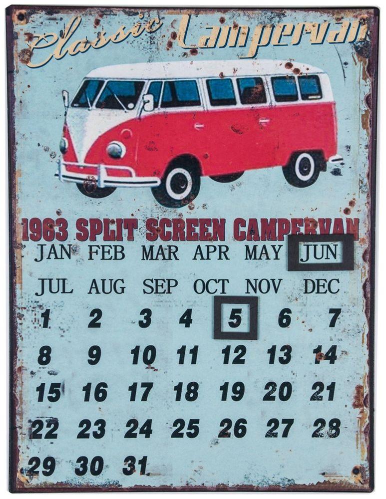 Retro Wandkalender 25x33cm Dekokalender Shabby Chic Vintage-Style Metallkalender Wanddeko – Bild 2