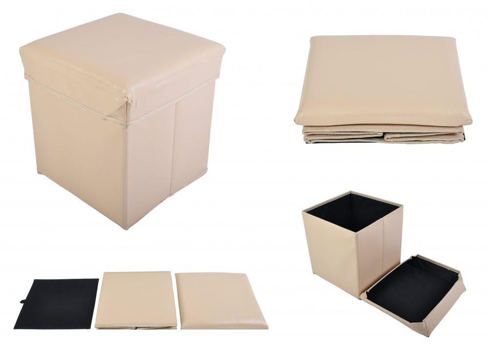 Faltbarer Sitzwürfel Aufbewahrungsbox Sitzhocker Sitzbank Truhe Fußbank beige – Bild 1