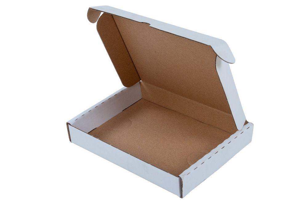 Maxibriefkarton weiß 350x250x5cm Faltkarton Versandkarton Versandschachtel Paket – Bild 1