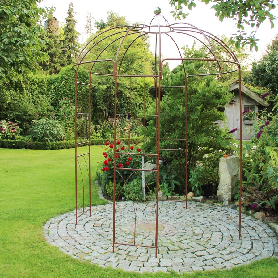 Rosenpavillon metall 270 h he rankhilfe gartenpavillon for Metall dekoration
