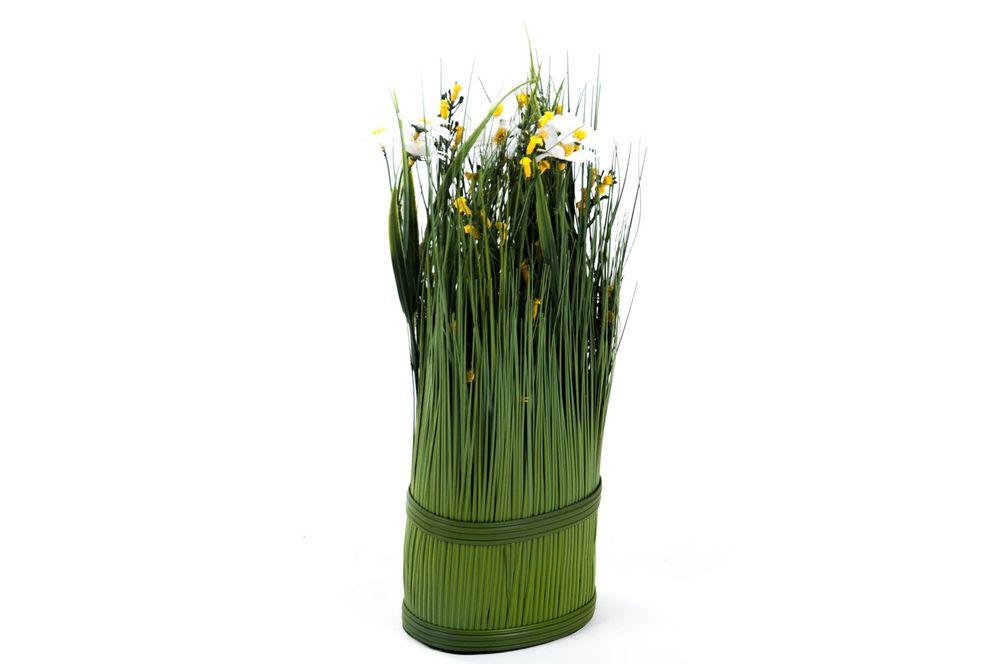 Grasbusch mit Glockenblumen u. Margeriten Dekogras H35cm Kunstblume Kunstpflanze