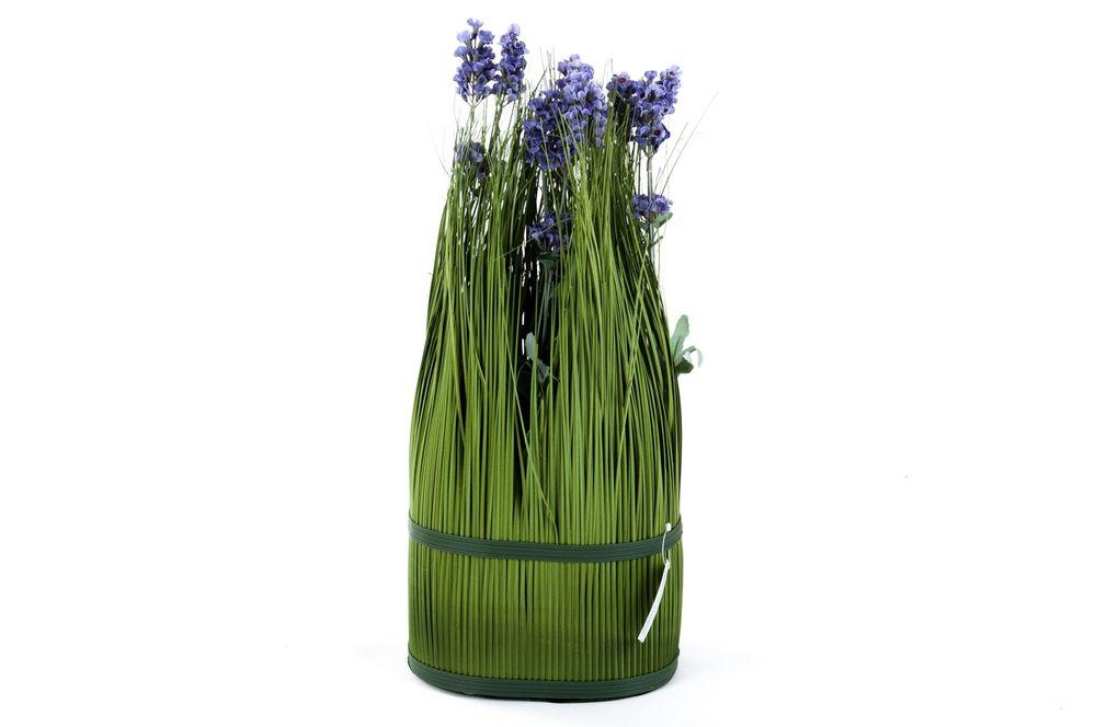 Grasbusch mit Lavendel H 49 cm Dekogras Kunstblume Kunstpflanze Dekopflanze neu