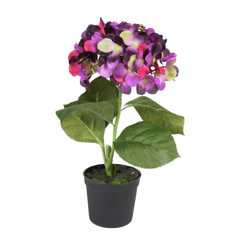 Künstliche Hortensie im Blumentopf 28cm Kunstblume Kunstpflanze Zimmerpflanze – Bild 2