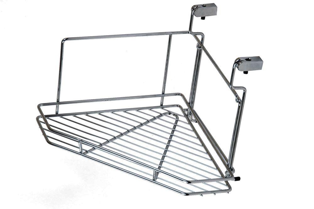 Wesco Relingsystem Eckregal Küchenreling Eckablage Chrom Gewürzbord Gewürzregal – Bild 1