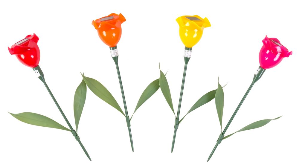 LED-Solar-Blumenspieße 4er-Set Balkonkasten Gartenlampe Beetstecker Gartendeko – Bild 3