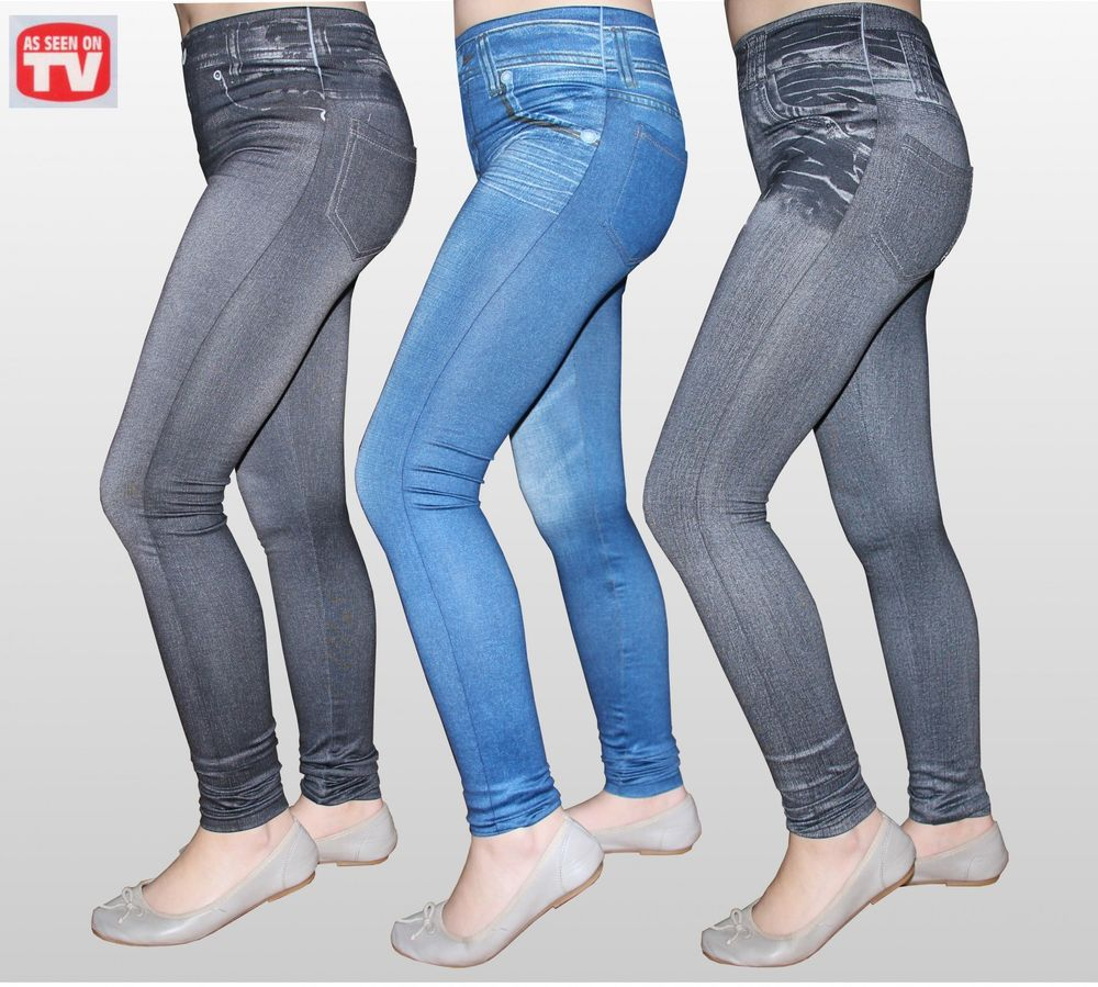Slim Jeggings 3 Stk Größe S mit SLIM EFFEKT Jeansleggings Jeansoptik Jeans Leggings – Bild 2
