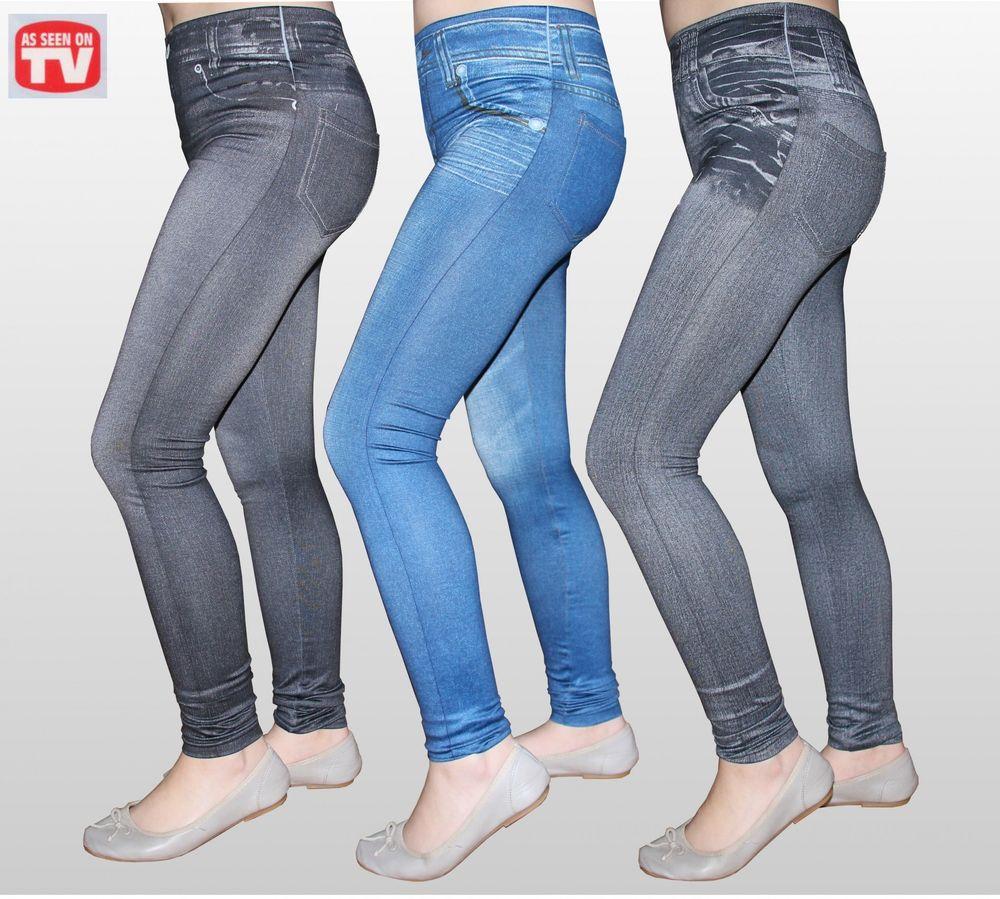 Slim Jeggings 3 Stk Größe S mit SLIM EFFEKT Jeansleggings Jeansoptik Jeans Leggings – Bild 2