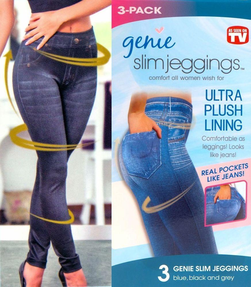 Slim Jeggings 3 Stk Größe M mit SLIM EFFEKT Jeansleggings Jeansoptik Jeans Leggings – Bild 1