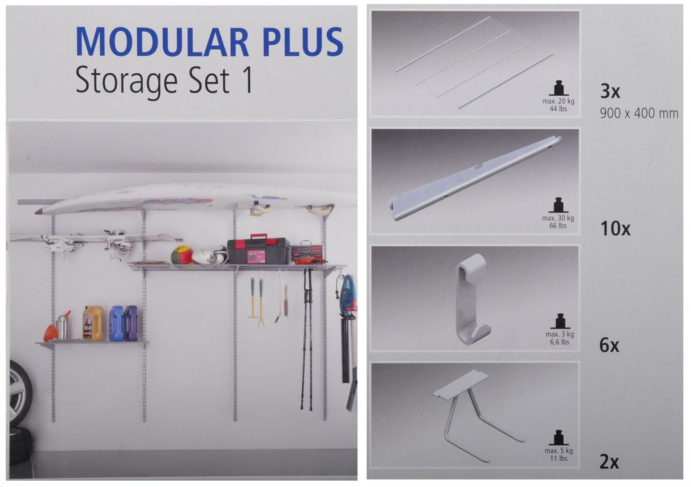 Regalsystem für Garage Modular Plus Basic Kit + Storage Set 1 + Storage Set 2 – Bild 2