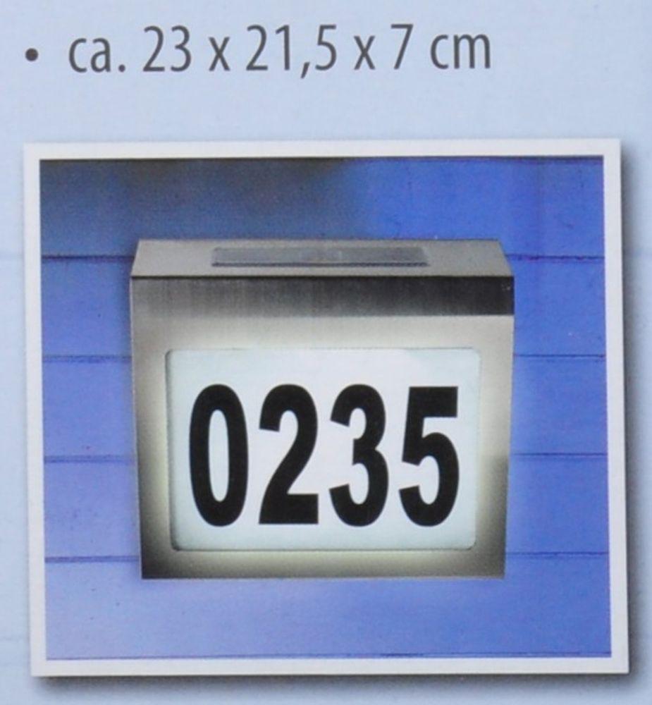 Design-Solar-Hausnummer mit LED-Beleuchtung Edelstahl Glas Hausnummernleuchte  – Bild 5