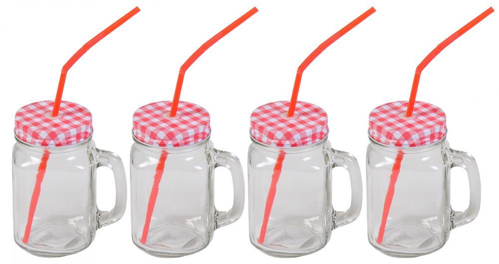 4x Henkelglas inkl. Deckel rot & Strohhalm Trinkglas Trinkbecher Glas 480ml – Bild 1