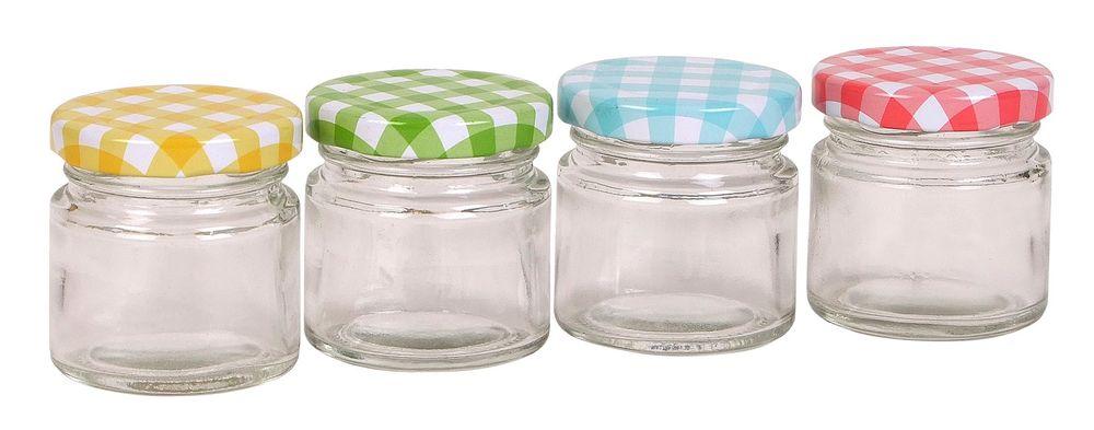 4 Mini-Marmeladengläser 60ml Gläschen Einmachglas Probiergläschen Schraubglas