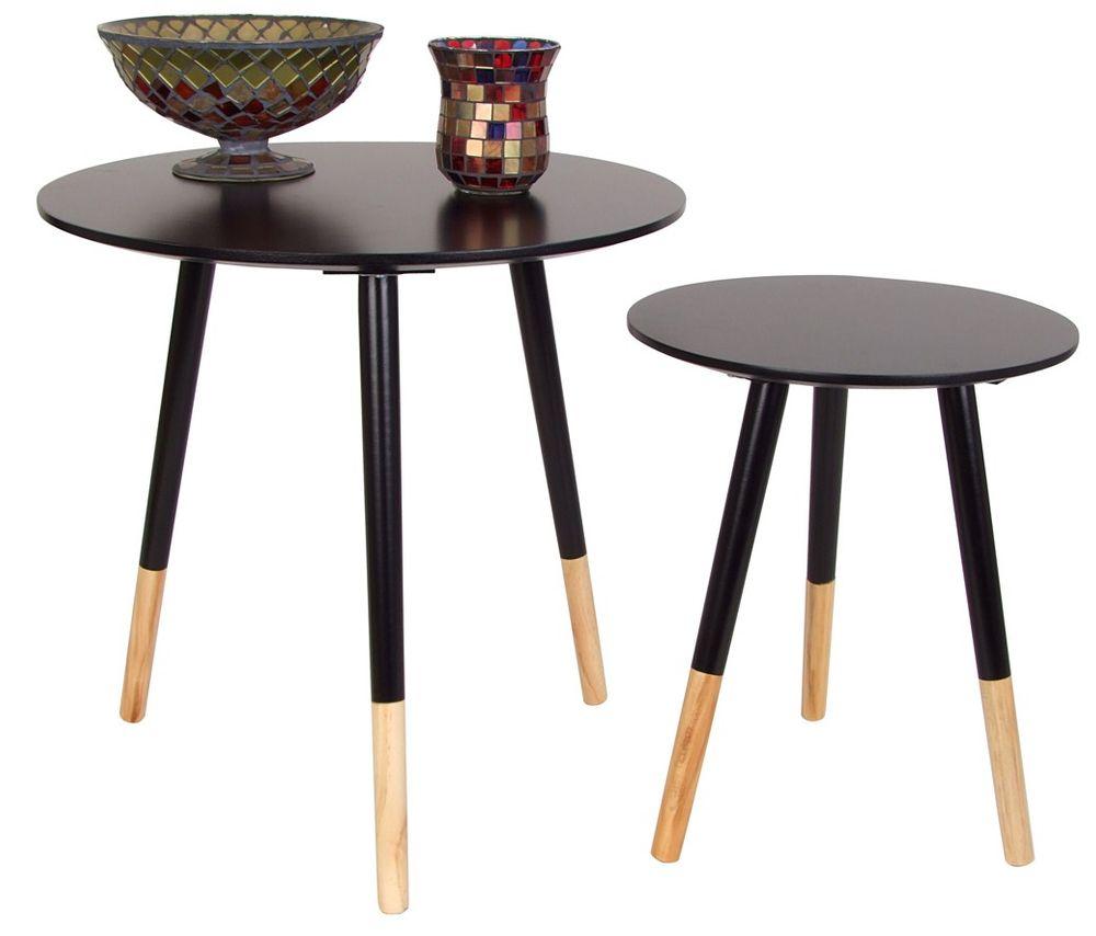 Beistelltische 2er-Set Holztisch Couchtisch Dekotisch Wohnzimmer-Tisch Holz  – Bild 3