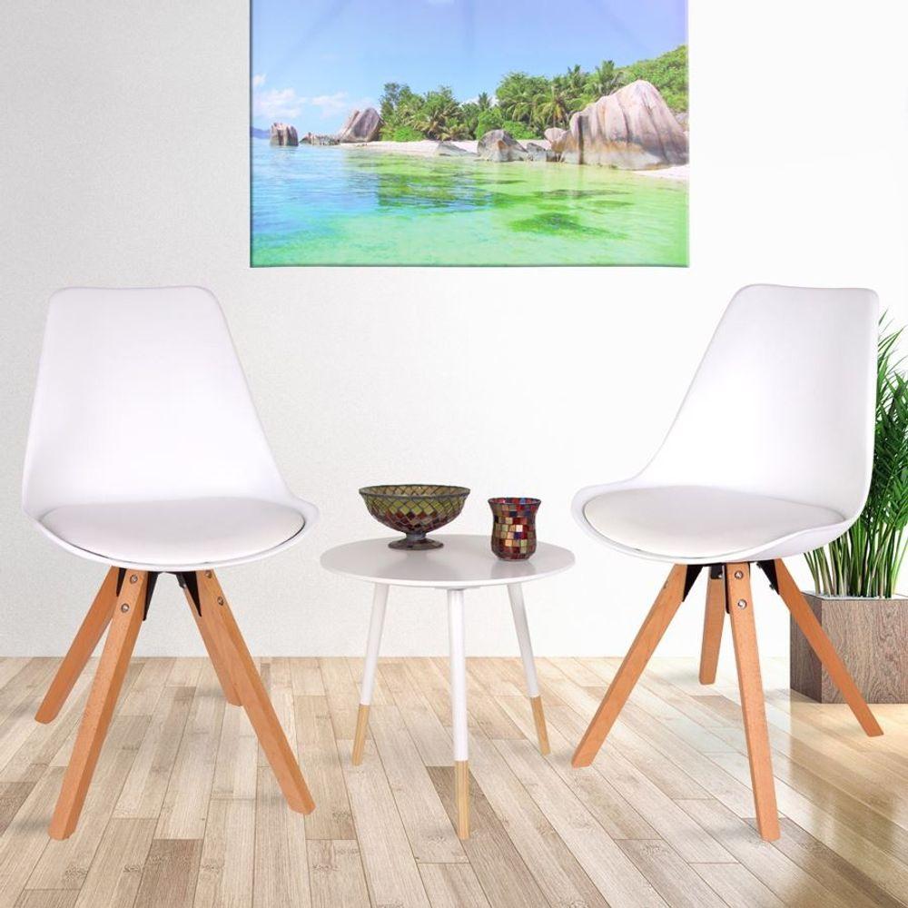 2er Set Esszimmerstühle m Holzbeinen weiß Möbel Stuhl Camping Sitz  – Bild 1