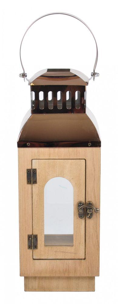 Holzlaterne Zedernholz (Optik) mit formschönen Metalldach Laterne Kerzenhalter – Bild 5