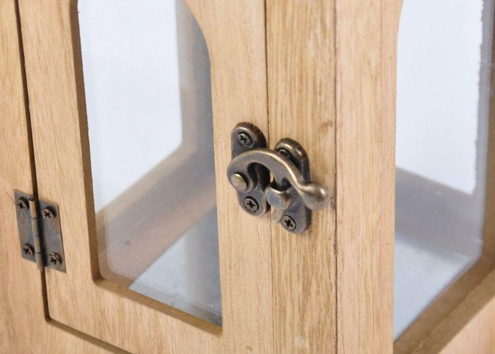 2er Set Holzlaterne Natur mit Metalldach silber Laterne Kerzenhalter Landhaus – Bild 2