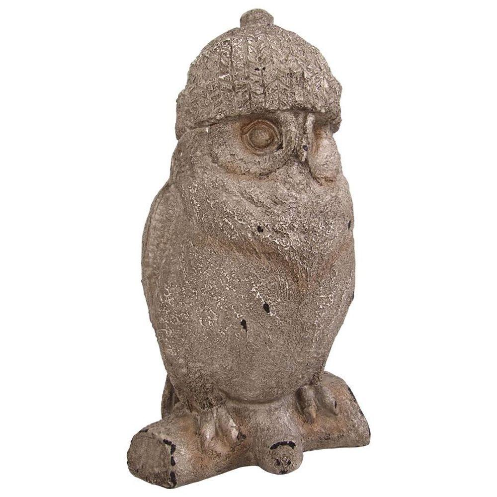 Deko-Eule Wollmütze Tierfigur Eulenfigur Gartendeko Winterdeko Mütze Uhu Kauz – Bild 2
