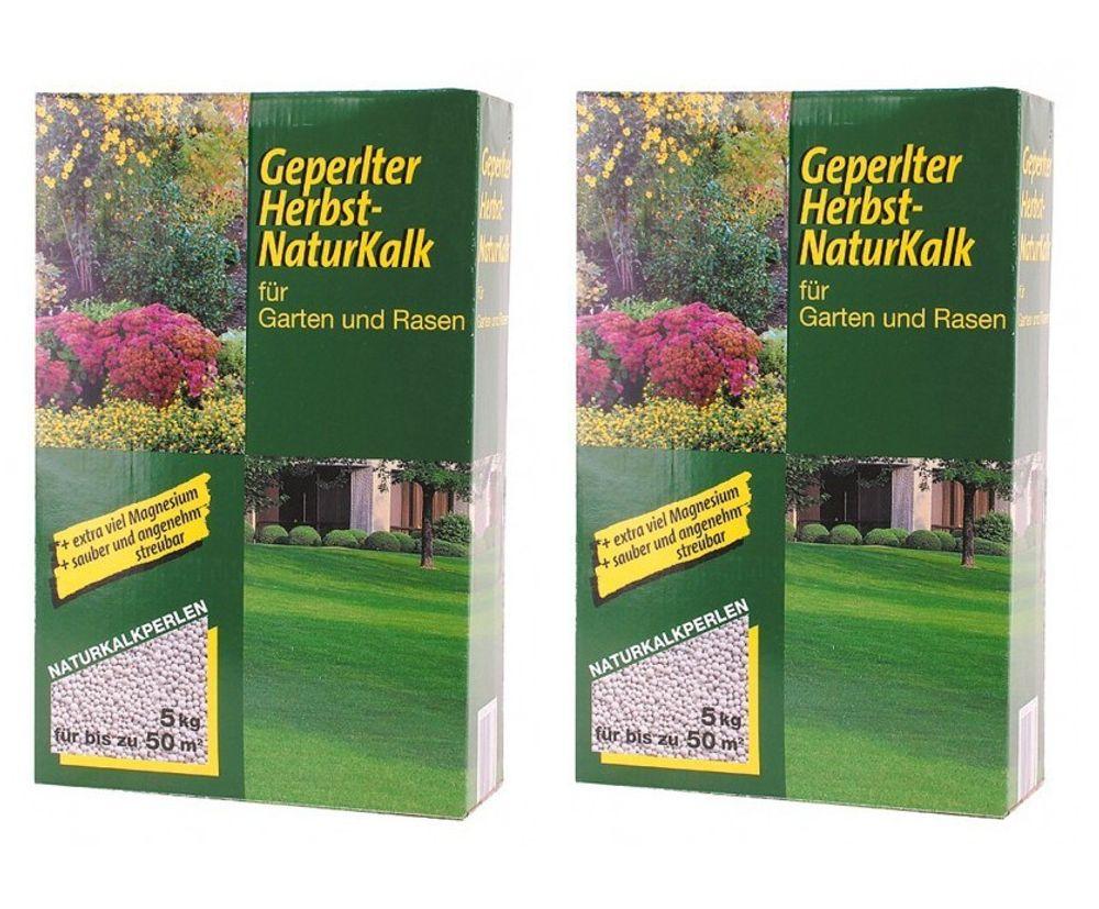 2er Set 5kg Geperlter Herbst Naturkalk Kalk Garten Gartenpfle Rasenpflege Dünger – Bild 1