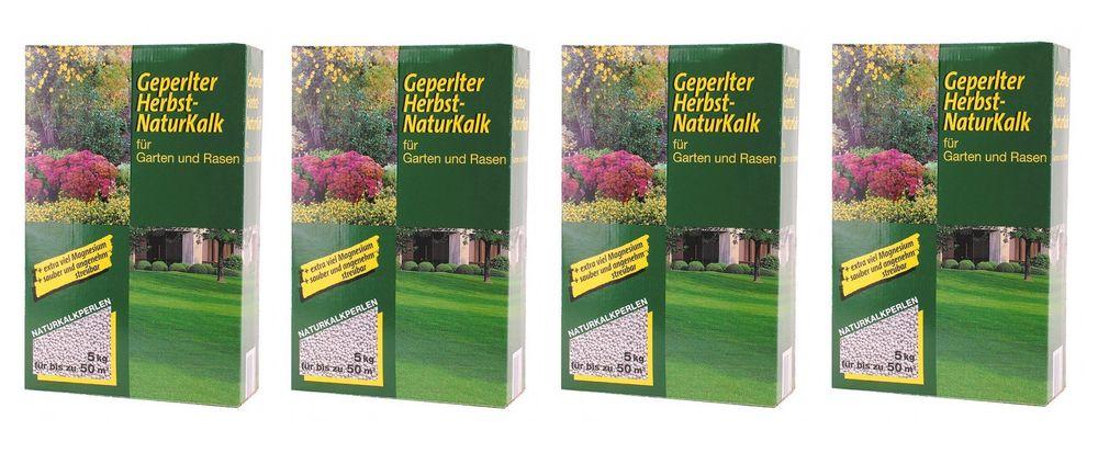 4er Set 5kg Geperlter Herbst Naturkalk Kalk Garten Rasendünger Gartenpflege  – Bild 1