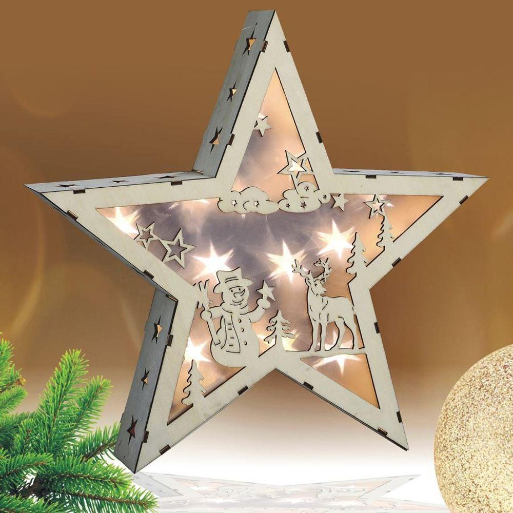 LED-Stern Hologramm-Effekt aus Holz 35cm Leuchtstern Weihnachtsstern Holzstern – Bild 2