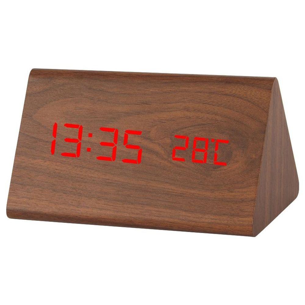 LED-Wecker Holzoptik 3 Weckzeiten Thermometer Kalender Sparmodus Touchfunktion – Bild 1