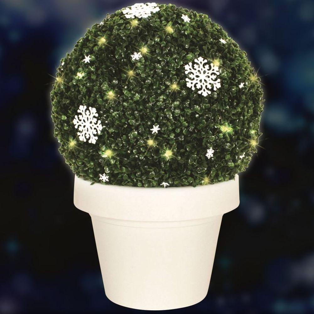 XXL LED-Buchsbaumkugel mit Schneeflocken im Topf 54cm Buxus Winter Garten Deko  – Bild 2