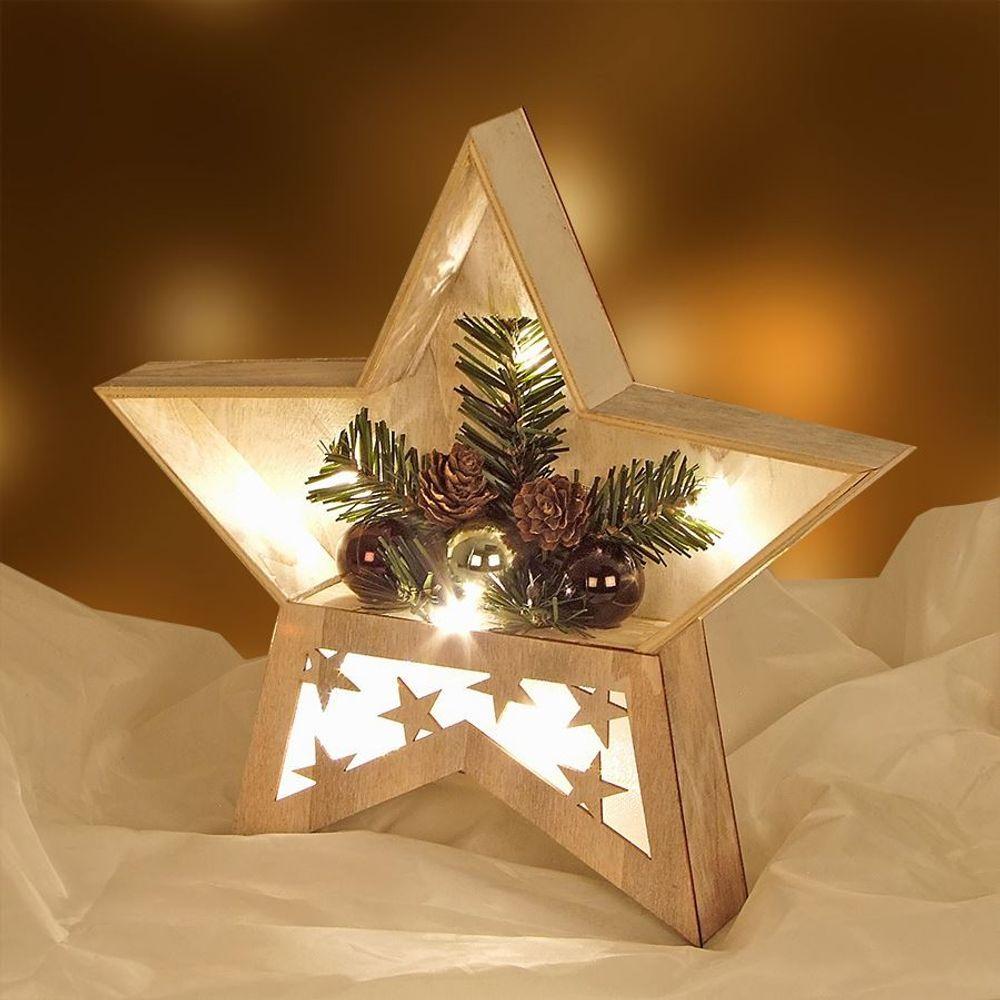 LED-Holzstern 28cm Weihnachtsstern Leuchtstern Fenster Tisch Licht Deko Echtholz – Bild 3
