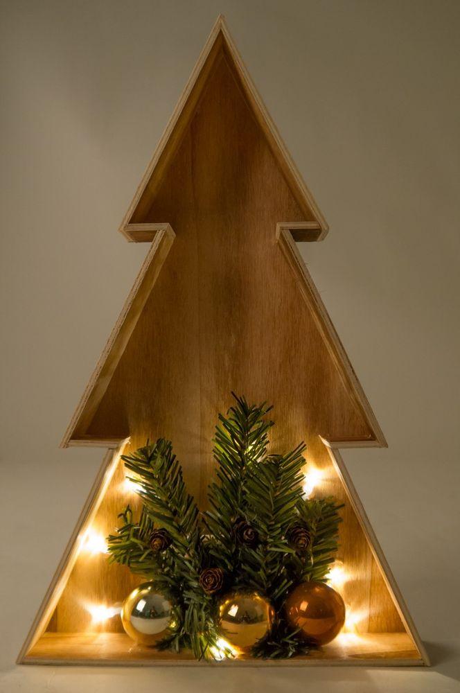 3D LED-Holz-Weihnachtsbaum 38cm Weihnachtsdeko Fensterbild Wanddeko Beleuchtung – Bild 2