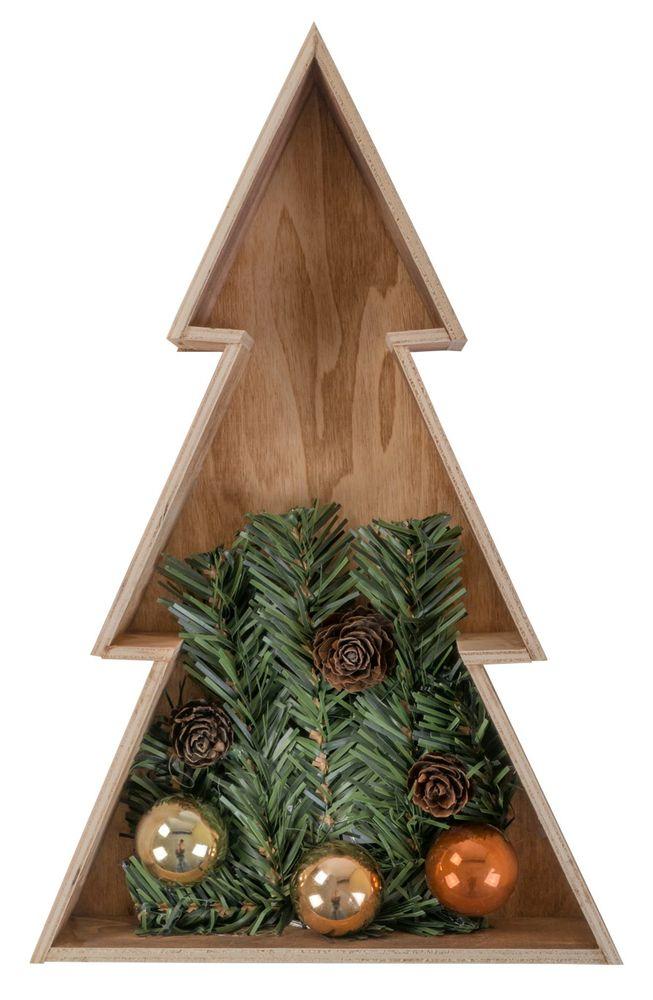 3D Holz-Weihnachtsbaum 28 cm Holztanne Weihnachten Leuchtbaum Tischdeko Echtholz – Bild 2