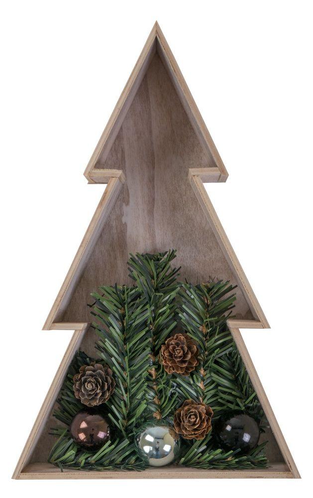 3D Holz-Weihnachtsbaum 28 cm Holztanne Weihnachten Leuchtbaum Tischdeko Echtholz – Bild 3