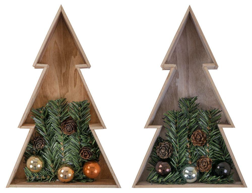 3D Holz-Weihnachtsbaum 28 cm Holztanne Weihnachten Leuchtbaum Tischdeko Echtholz – Bild 1