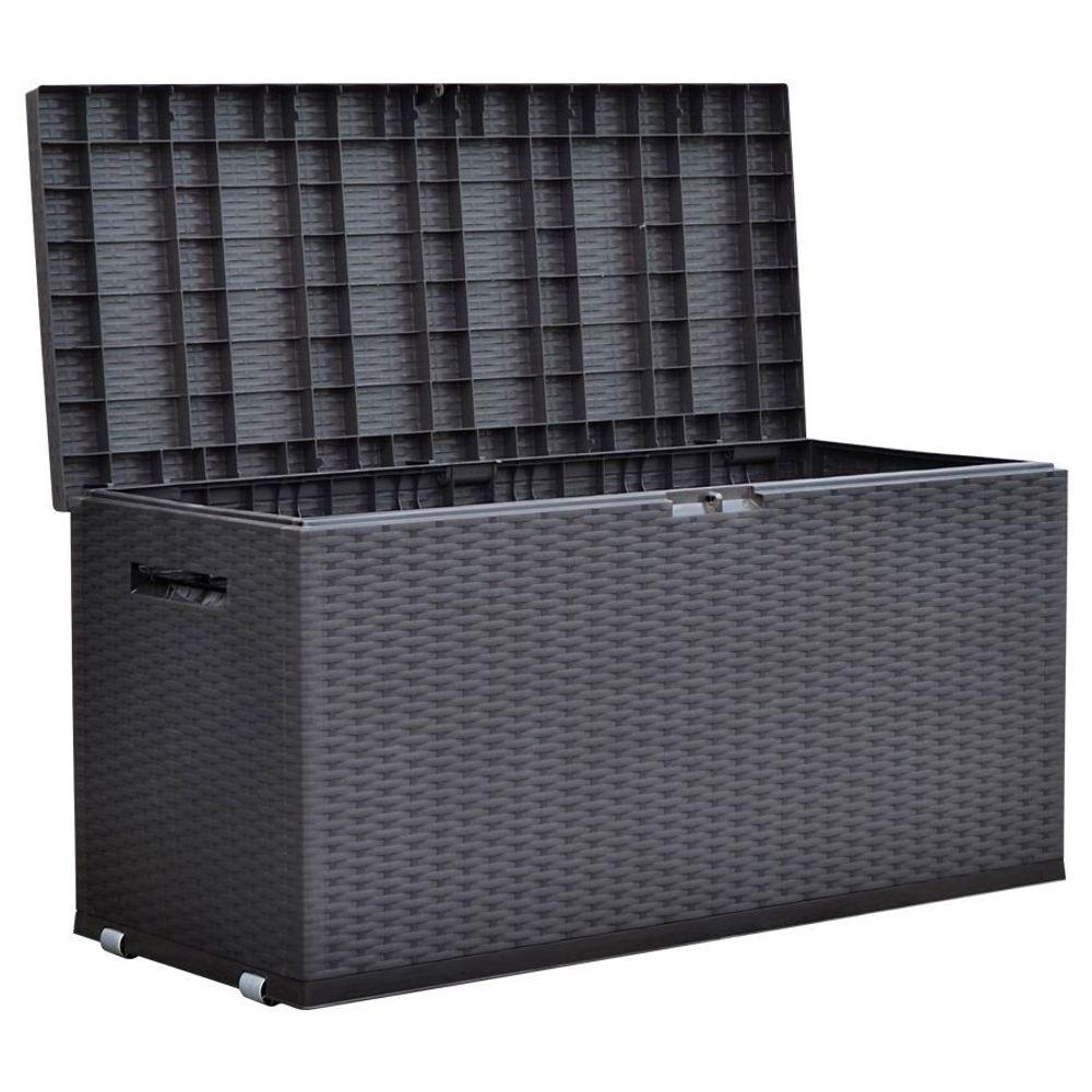 Gartentruhe Nizza Rattan-Design Rollbox Auflagenbox Kissen Aufbewahrung Truhe – Bild 1
