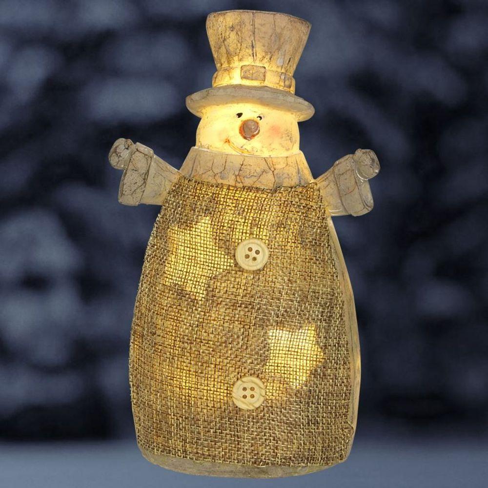LED-Schneemann mit Zylinder 18cm Weihnachtsdeko Winterdeko Leuchtfigur warmweiß – Bild 1