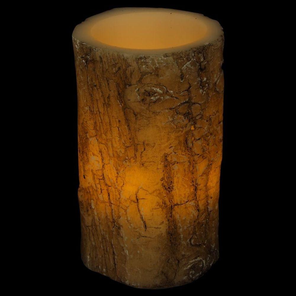 LED-Kerze Baumrinde 14x8,5cm Baumstamm-Design Echtwachs Motivkerze Dekokerze – Bild 1