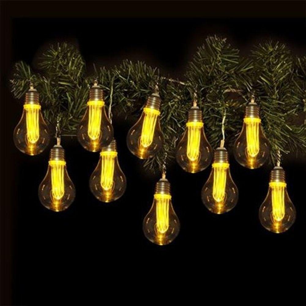 lichterkette mit 10 led gl hbirnen und timer leuchtdeko. Black Bedroom Furniture Sets. Home Design Ideas