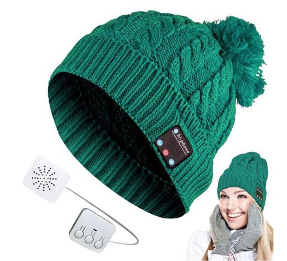 Bluetooth-Strickmütze mit Bommel Wintermütze Bommelmütze verschiedene Farben – Bild 3