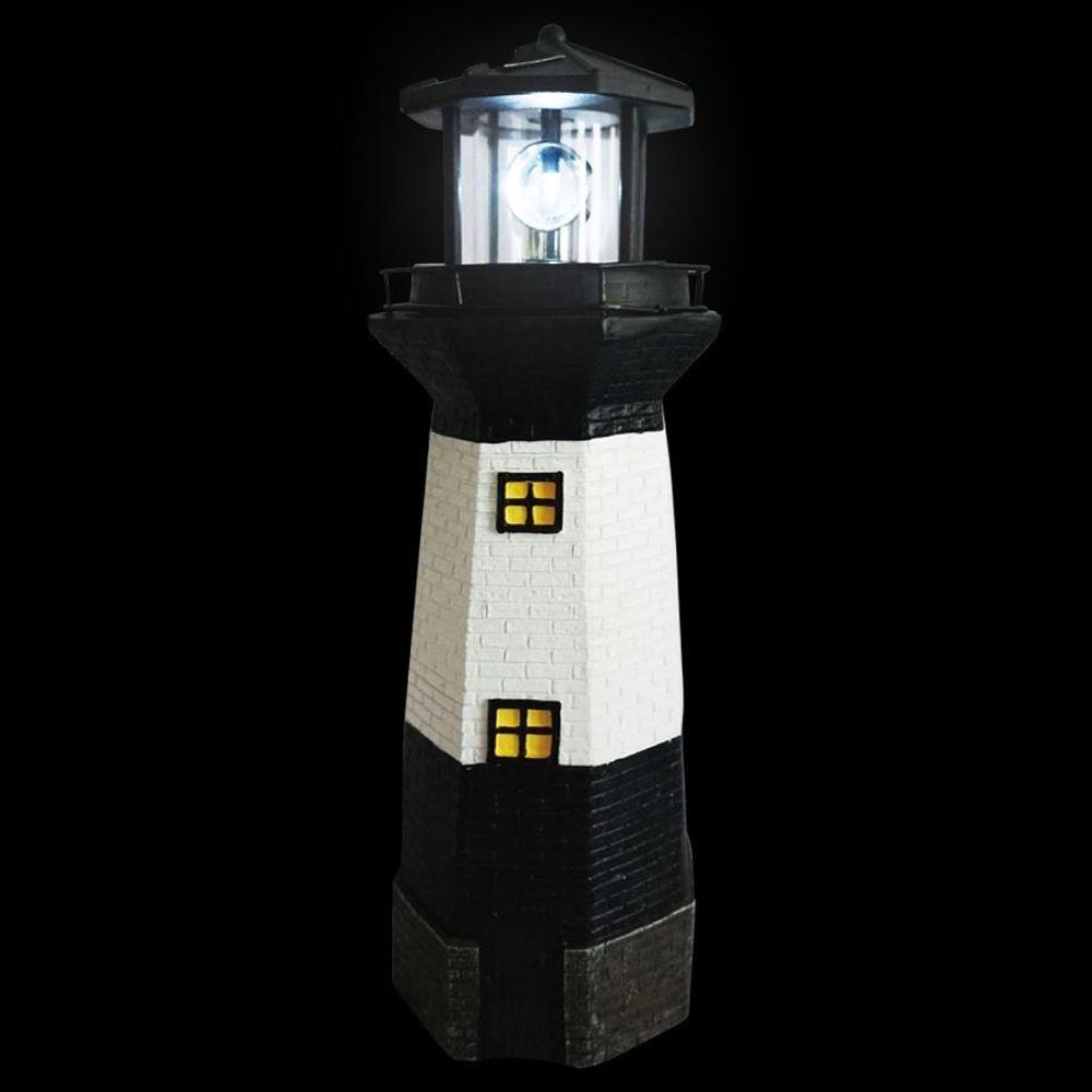 Solar-Leuchtturm 38cm mit rotierendem LED-Licht maritime Gartendeko Terrasse  – Bild 2