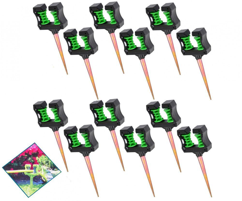 12er-Set Umlenkrolle für Gartenschlauch mit 2 Rollen und Erdspieß Schlauchhalter – Bild 1
