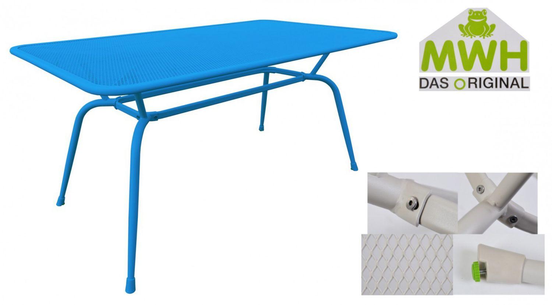 Mwh Tisch Conello 160x90x74cm Blau Streckmetalltisch Gartentisch