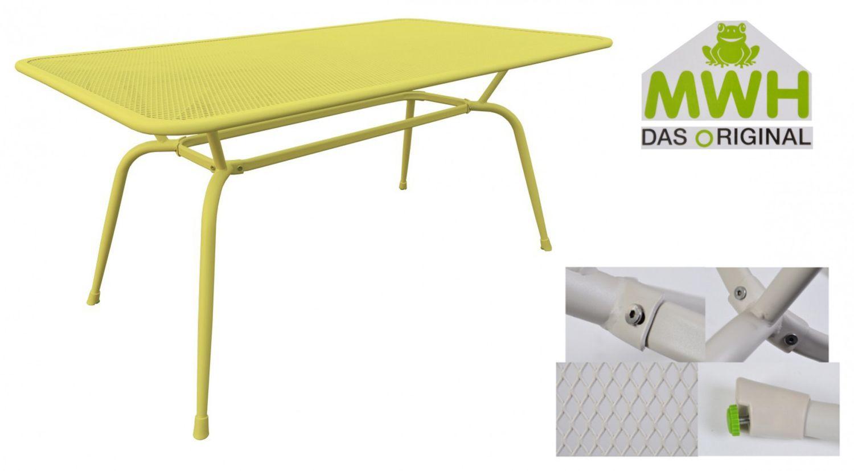 Mwh Tisch Conello 160x90x74cm Gelb Streckmetalltisch Gartentisch